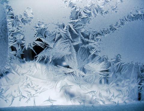 Snow pattern on winter window